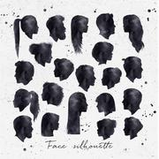 Face silhouettes ink - stock illustration