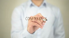 Confidential,  Man writing on transparent screen Stock Footage