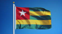 Togo flag in slow motion seamlessly looped with alpha Stock Footage
