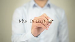High Interest Rates,  Man writing on transparent screen Stock Footage