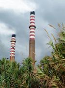 Power station chimneys Stock Photos
