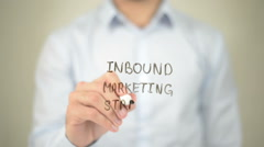 Inbound Market Strategy,  Man writing on transparent screen Stock Footage
