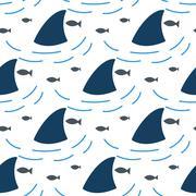 Shark fin in water waves seamless pattern - stock illustration