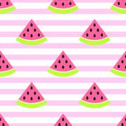 Watermelon slices seamless pink pattern on white Stock Illustration