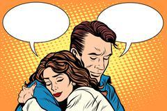 couple man and woman love hug - stock illustration