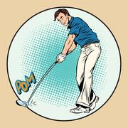 Golf player has a stick in the ball - stock illustration