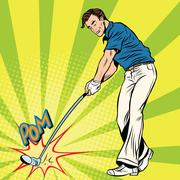Golf player has a stick in the ball Stock Illustration