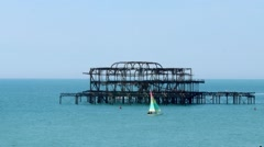 The West pier in Brighton - stock footage