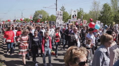 TOLYATTI, RUSSIA, MAY 9, 2016: Immortal Regiment On Victory Day - stock footage