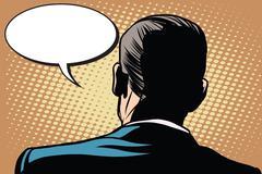 Male back comic bubble conversation communication - stock illustration