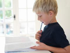 Boy 7 doing homework Stock Photos