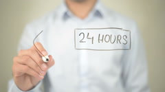 24 Hours Available, Concept,  Man writing on transparent screen - stock footage