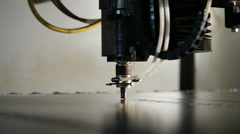 Production of metal sauna stoves. Laser machine cuts the metal sheet. Stock Footage