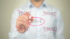 Save, Spend Illustration,  Man writing on transparent screen Stock Footage