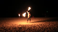 Fire show festival at the beach.  Thailand Stock Footage