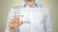 Website Project, Concept,  Man writing on transparent screen Stock Footage