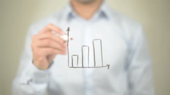 Growth Graph,  Man writing on transparent screen Stock Footage