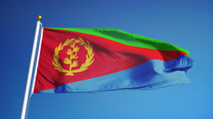 Eritrea flag in slow motion seamlessly looped with alpha Stock Footage