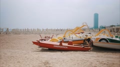 Emergency Boat on the beach Stock Footage