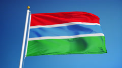 Gambia flag in slow motion seamlessly looped with alpha Stock Footage