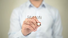 Human Resources,  Man writing on transparent screen - stock footage