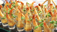Assortment Thai Finger food for cocktail party appetisers Catering Buffet. Stock Footage