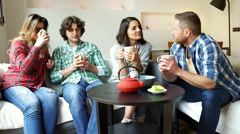Friends drinking tea on the sofa and smiling to the camera Stock Footage