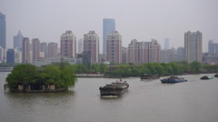 Freight ships on ancient great canal in Wuxi Stock Footage