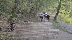KIEV, UKRAINE : Start Competition mountain bike Stock Footage