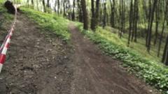 Bike Race in the Woods Stock Footage