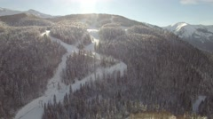 Aerial view of the ski resort Stock Footage