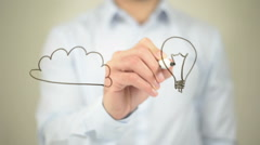 Idea Illustration, Cloud COmputing,  Man writing on transparent screen Stock Footage