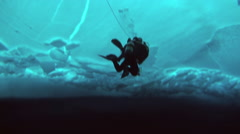 Fantastic underwater view under the Arctic ice at the North Pole. Stock Footage