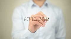 Achievement,  Man writing on transparent screen - stock footage
