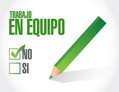 no teamwork approval sign in Spanish illustration - stock illustration