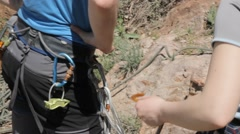Close-up detail of rock climber - stock footage