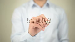 5G Network,  Man writing on transparent screen Stock Footage