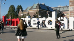 Time Lapse Zoom -  Amsterdam Sign & People - Rijksmuseum - Amsterdam - stock footage
