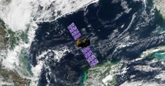 Top view of Earth-observing Calipso spacecraft in orbit above the Gulf Of Mexico - stock footage