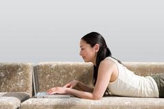 Japanese woman telecommuting - stock photo
