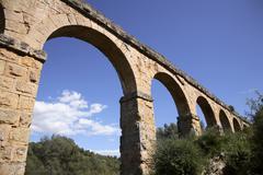 Roman aqueduct tarragona Stock Photos