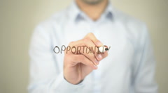 Opportunity,  Man writing on transparent screen - stock footage