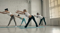 Yoga Class, Group of People Relaxing and Doing Yoga. Womans Wellness and Healthy Stock Footage
