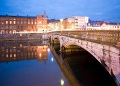 St patricks street bridge and lee river cork - stock photo