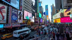 Time Lapse of atop the TKTS Booth views of Times Square in New York City - stock footage