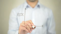 Risk Reward Ratio, Concept Graph, Man writing on transparent screen Stock Footage