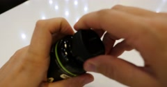 man hand unscrew the cap  of pills - stock footage