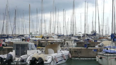 Marine yachts in the resort bay before storm and thunderstorm near Rome Italy - stock footage