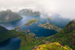 Amazing view of Lofoten islands in the fog, Norway Stock Photos