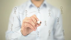 Networking,  Man writing on transparent screen Stock Footage